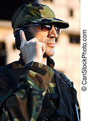 soldier with phone