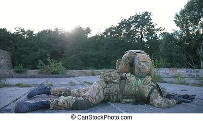 Soldier with PTSD grief for fallen fellow in arms -...