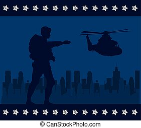 soldier with rifle and helicopter silhouette in cityscape background