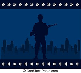 soldier with rifle figure silhouette in cityscape background