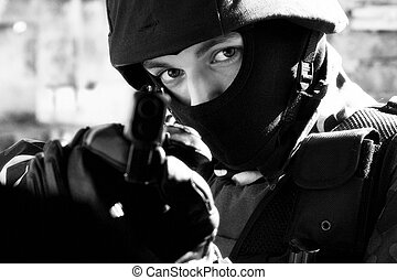 Soldier with semi-automatic pistol