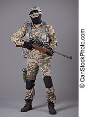 Soldier with sniper rifle