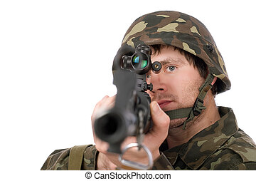 Soldier with svd. Closeup