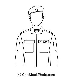 Soldier.Professions single icon in outline style vector symbol stock illustration web.