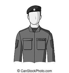 Soldier.Professions single icon in monochrome style vector symbol stock illustration web.