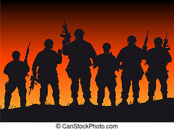 Abstract silhouette vector illustration of several soldiers against a sunset