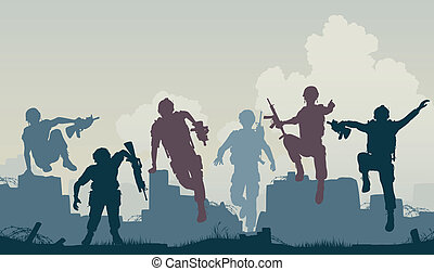 Soldiers advance - Editable vector silhouettes of armed...