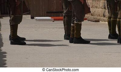 Soldiers antique uniform exercising