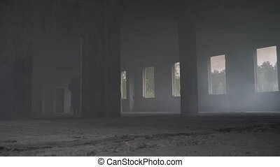 Soldiers are in a building full of smoke - Soldiers fleeing...