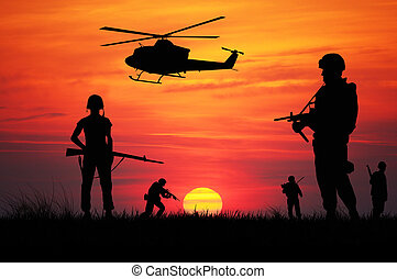 soldiers at war - soldiers at sunset