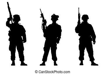 Soldiers - Black silhouettes of the soldiers on white...