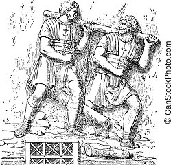 Soldiers carrying a tree, vintage engraving.