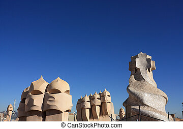 soldiers chimneys anthropomorphic by Gaudi - On the terrace ...