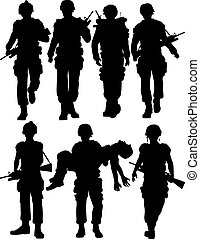 Soldiers - Set of editable vector silhouettes of walking...