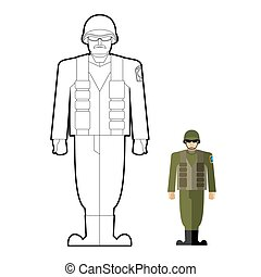 Soldiers coloring book. Military clothing: helmet and body armor. Vector illustration.