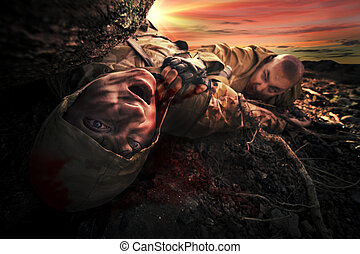Soldier's dead body - Bloody monster near soldier's dead...