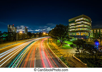 Soldiers Field Road and buildings at Harvard Business School, in Boston, Massachusetts.