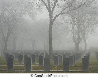 Soldier's foggy graveyard - Rememberance Day Memorial