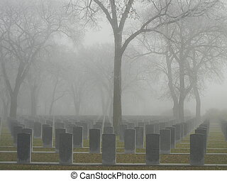 Soldier's foggy graveyard - Rememberance Day Memorial