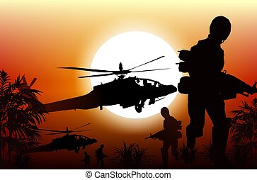 Soldiers in Action. Marine Soldiers and Helicopters. Sunset...