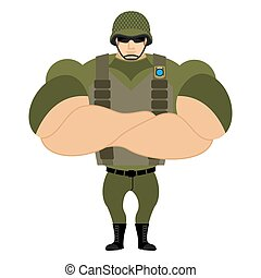 Soldiers in flak vest. Military helmet. Powerful soldiers in protective clothing. Strong army man. Veteran of war. Serious and heavy Infantryman.
