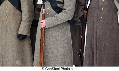 soldiers in uniform and with weapons of Russian army 19th century, close-up