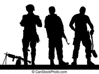 Soldiers in war - Soldier in uniform with gun on white...