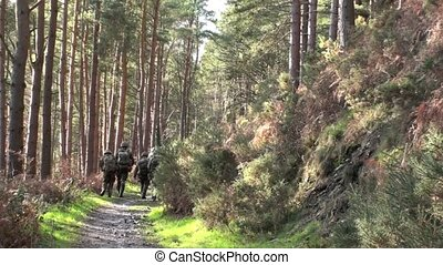 Platoon of soldiers on exercise in the forest