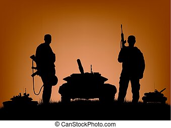 Soldiers on the performance of combat operations..eps
