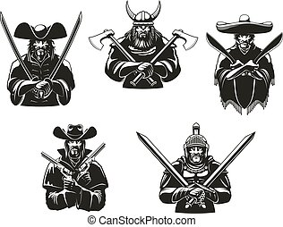 Warriors or soldiers icons of weapon ammunition. Vector symbols of ancient viking hatchet axes, filibuster musketeer pistols, mexican bandit machete sabers, western bandit guns, knight guard armor and swords