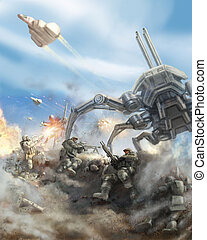 Soldiers repel the attack of the giant spider robot. Science fiction genre.