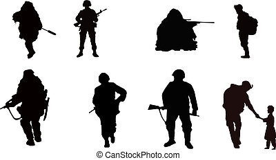 Soldiers - rifle man soldiers silhouettes black on white...