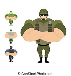Soldiers. Set of strong military people of defenders of fatherland. Marine infantryman. Blue beret. Police officer. Athlete in uniform. Bodybuilder with big muscles.