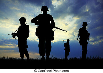 Soldiers silhouette at sunset - illustration of soldiers...