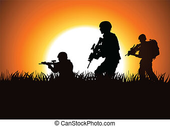 Soldiers - Silhouette illustration of soldiers on the field
