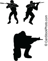 Soldiers silhouette - vector