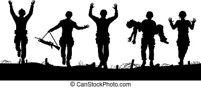 Soldiers surrendering - Editable vector silhouettes of a...