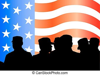 Soldiers under American flag - Vector drawing of a group of...