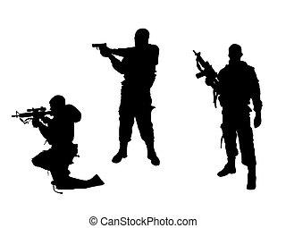 vector illustration of three men with guns
