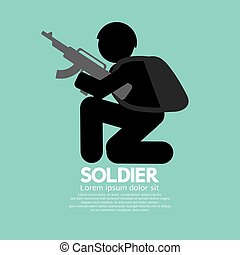 Soldiers With Guns Icon Black Symbol Vector Illustration.