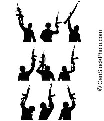 Soldiers with guns silhouettes