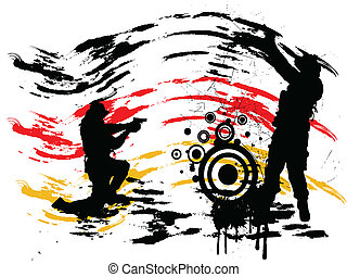 soldiers with guns - illustration of soldiers on an abstract...