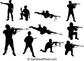Soldiers with the weapon. Shooting from the weapon