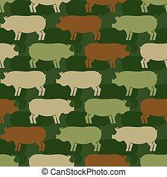 soldiery, textuur, leger, boerderij, model, ornament., zwijnen, varken, achtergrond., vector, eamless., dier, militair, oorlog, piggy