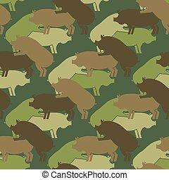 soldiery, textuur, verkeer, leger, boerderij, model, ornament., reproduction., zwijnen, varken, achtergrond., vector, eamless., dier, militair, oorlog, piggy