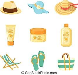 sole, accessroies., spiaggia, creams., hats.