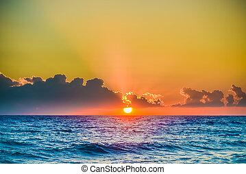 sole, alba, tranquillo, mare, calma