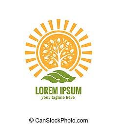 sole, albero, logotipo, sagoma