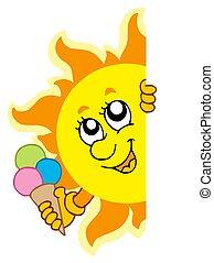 sole, appostando, icecream