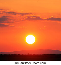 sole, -, arancia, tramonto, cielo rosso